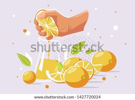 vector illustration of a human hand that squeezes the juice from an orange into a glass carafe, oranges Stockfoto ©