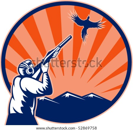 vector illustration of a Hunter aiming shotgun rifle at bird pheasant with mountains and sunburst in background