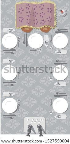 Vector illustration of a Jewish Sabbath table set with Challah, Challah cover Kiddush cup wine glasses white plates napkins silverware napkins Shabbat candles candlesticks candle tray painting drawing