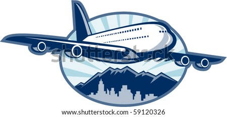 vector illustration of a Jumbo jet plane airliner taking off with city skyline and mountains in the background.