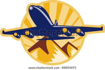 vector illustration of a jumbo jet plane airplane flying with mountains