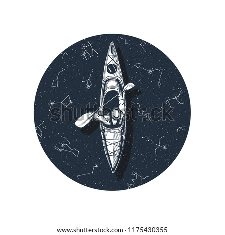 Vector illustration of a kayaking, canoeing or rafting boat with the oarsman. Top view, circle of blue water with stars and constellations reflections. Sport drawing, great t-shirt print.