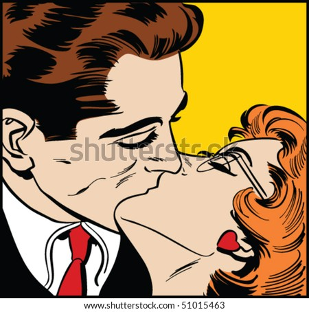Vector illustration of a kissing couple in a pop art/comic style.