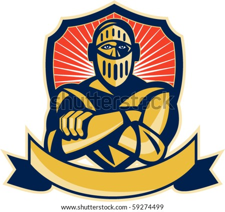 vector illustration of a knight arms crossed with shield