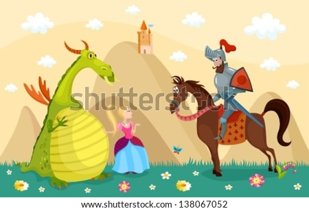 vector illustration of a knight dragon and princess