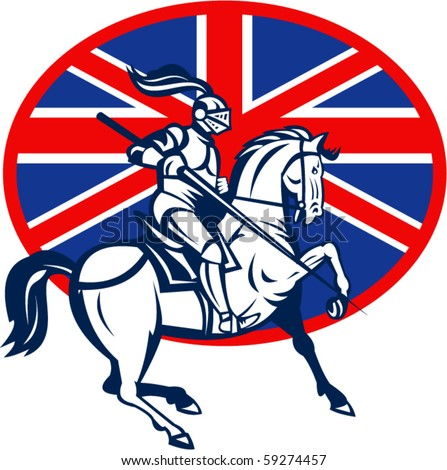 vector illustration of a Knight on horse with lance and British or great Britain flag