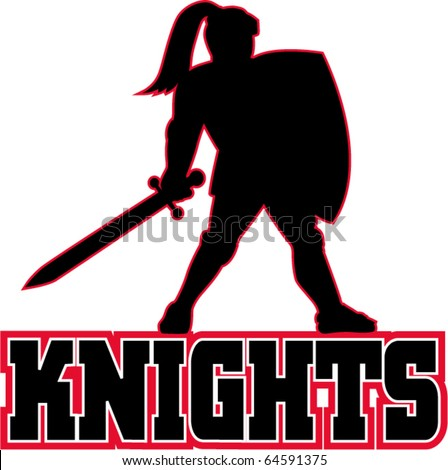 """vector illustration of a Knight silhouette with sword and shield facing side in white background with words """"Knights"""" suitable as mascot for any sports or sporting club or organization - stock vector"""