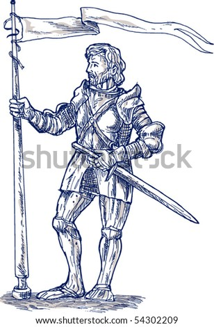 vector illustration of a Knight standing with lance and flag