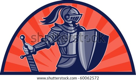 vector illustration of a Knight with sword and shield facing side with sunburst in background done in retro style