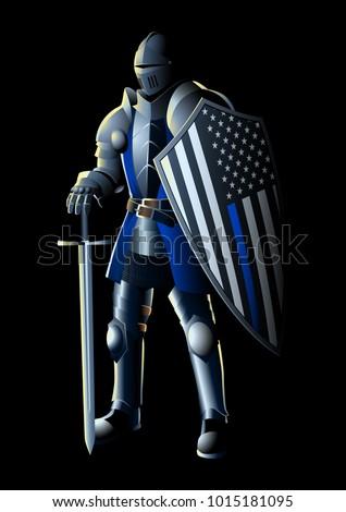 vector illustration of a knight