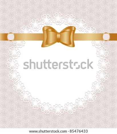 Vector illustration of a lace napkin with bow on floral pattern background - stock vector