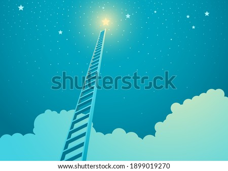 Vector illustration of a ladder leading to bright star, ladder to success concept Photo stock ©