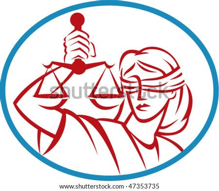 vector illustration of a Lady holding up scales of justice set inside an oval.