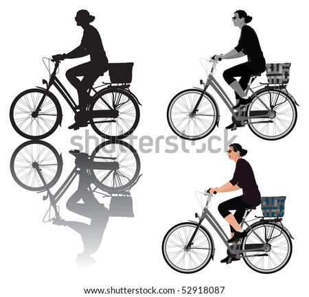 Vector illustration of a lady riding bicycle. For usage choice are 3 versions: with shadow, color and black and white. Same lady rider.
