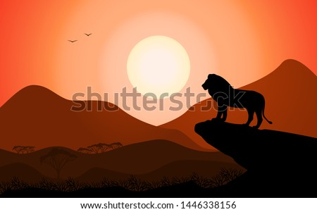 Vector illustration of a landscape silhouette of a king lion standing on a rock against a sunset background. Wild lion in freedom looks at the African valley.
