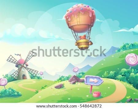 Vector illustration of a landscape with marmalade candy mill and fox in blimp. For print, create videos or web graphic design, user interface, card, poster.