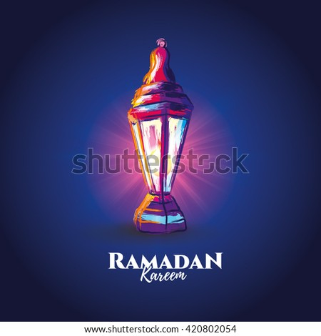 vector illustration of a lantern Fanus, the Muslim feast of the holy month of Ramadan Kareem. illustrations in the style of watercolor paints.  #420802054