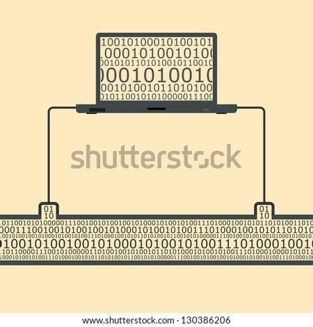 Vector illustration of a laptop spying on an information traffic.