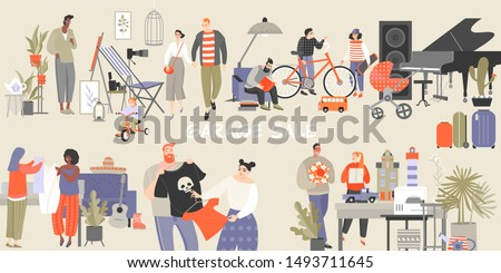 Vector illustration of a large garage sale with people choosing clothes and household items. Reuse of things and reasonable consumption