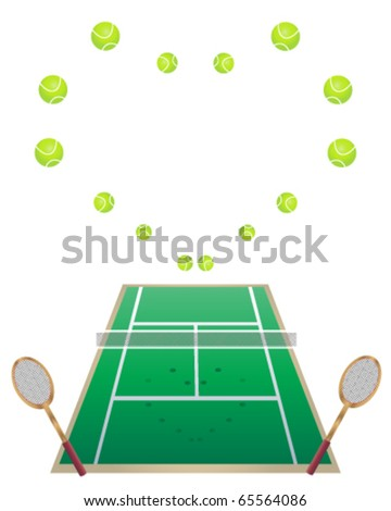 vector illustration of a lawn tennis court with tennis balls and rackets in eps10 format