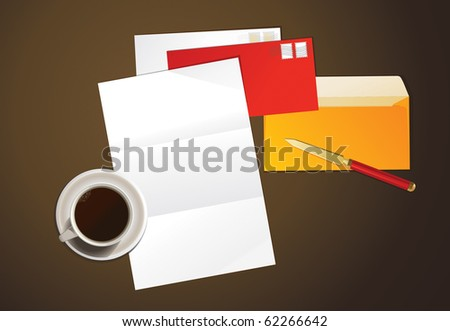 Vector illustration of a letter and cup of coffee.