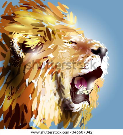 vector illustration of a lion's