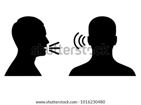 vector illustration of a listen and speak icon, voice or sound symbol, man head profile and back