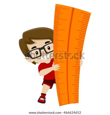 Vector Illustration of a Little Boy holding a Big Ruler
