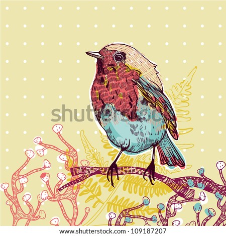 vector illustration of a little colorful bird