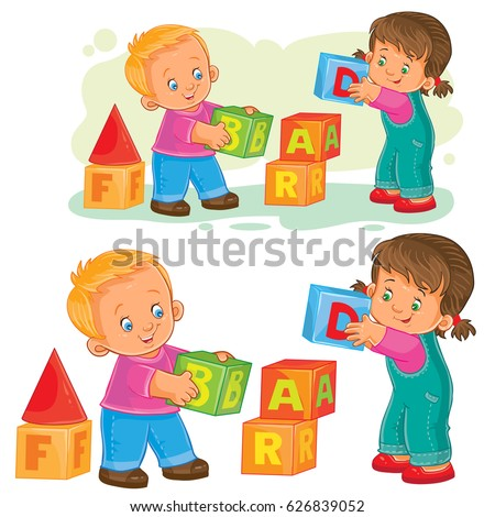 Vector illustration of a little girl and boy playing with cubes, older sister helping a younger brother build a tower of cubes. Print