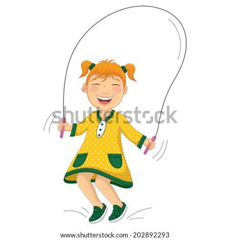 Vector Illustration Of A Little Girl Doing Skipping