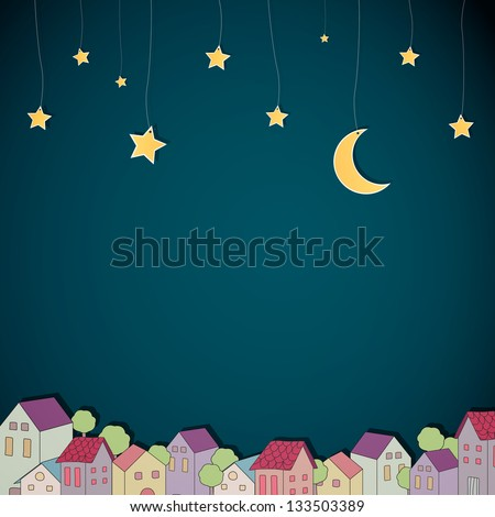 Vector Illustration of a Little Town at Night