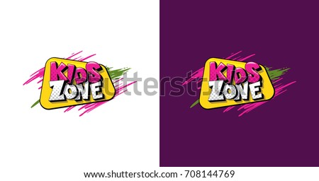 vector illustration of a logo with text game zone for children in colorful style