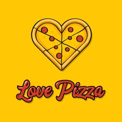 Vector illustration of a love for pizza
