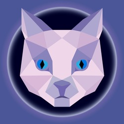 Vector illustration of a low poly style face of a violet cat with blue eyes isolated on vignette. Polygonal graphics.