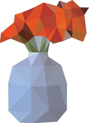Vector illustration of a low poly style plant. Low poly design potted plant, Low poly abstract. Polygonal art style.