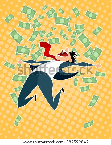 Vector illustration of a lucky businessman jumping