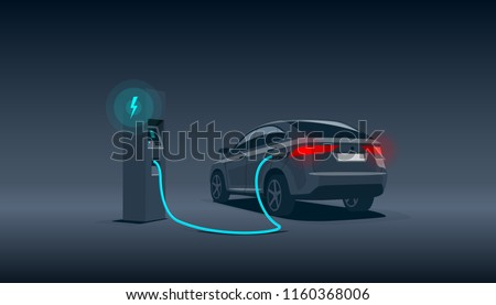 Vector illustration of a luxury black electric car suv charging at the charger station during night time low demand off peak electricity. Electromobility eco future transportation e-motion concept.  Foto stock ©