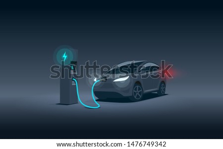 Vector illustration of a luxury black electric car suv charging at the charger station during night time low demand off peak electricity. Electromobility eco future transportation e-motion concept.