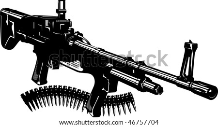 Vector illustration of a machine gun and machine-gun tape. Black and white.