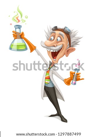 Vector Illustration of a Mad Scientist Holding a Test Tube and Making His Crazy Experiment.