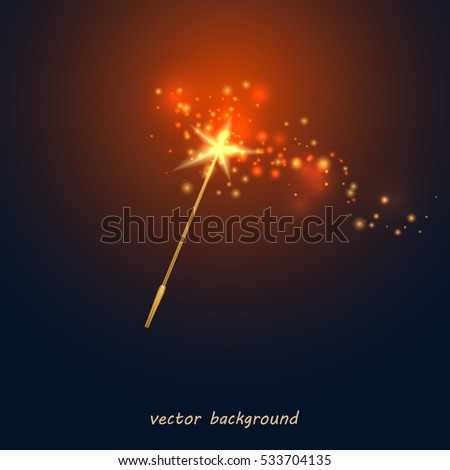 Stock Photo Vector illustration of a magic wand. Golden wand with a star and red light