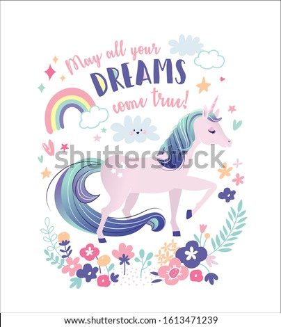 Vector illustration of a magical unicorn. Greeting card with