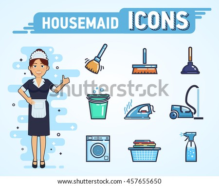 vector illustration of a maid