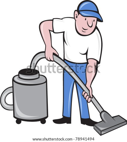 vector illustration of a Male Cleaner vacuuming  with vacuum cleaning isolated on white background done in cartoon style.