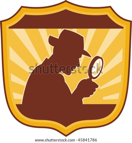 vector illustration of a male detective inspector with magnifying glass set inside a shield