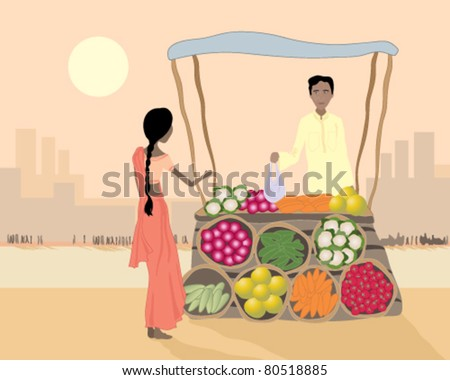 vector illustration of a male street vendor selling vegetables to a woman from his stall on an asian city street in eps 10 format