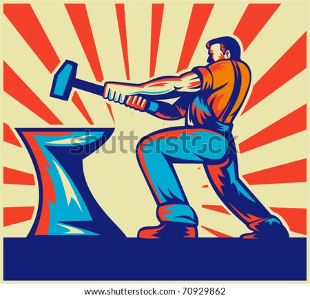 vector illustration of a male worker or blacksmith striking hammer and anvil with sunburst in background done in retro style