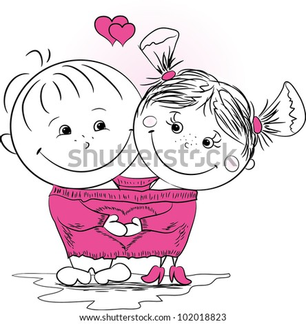 vector illustration of a man and woman in love in one big jumper