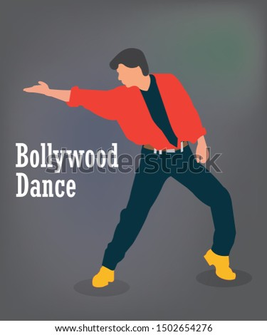 Vector illustration of a man dancing in bollywood style. Bollywood style dancing actor.